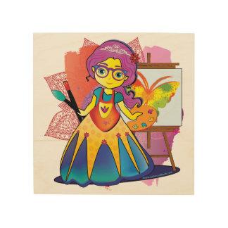 Kunst-Prinzessin auf hölzernem Druck