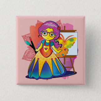 Kunst-Prinzessin Pin Quadratischer Button 5,1 Cm