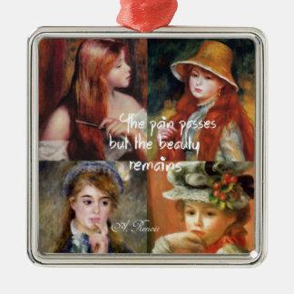 Kunst, Schönheit und Liebe in Renoir Malereien Quadratisches Silberfarbenes Ornament