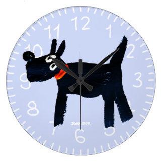 Kunst-Uhr: John-Farbstoff Scotty Hund Große Wanduhr