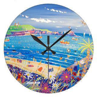 Kunst-Uhr: Mutter Iveys Bucht Cornwall Große Wanduhr