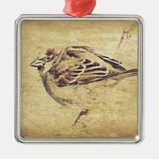 Kunstbleistift-Skizze des Zens wilder Vogel der Silbernes Ornament