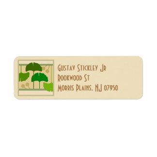 Künste und Handwerk Ginko Blätter-Adressen-Etikett Rücksendeetikett
