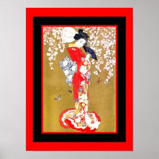 Kunstjapanische Geisha-Dame Vintage Poster 2