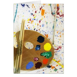 Künstler-Farben-Spritzer und Palette der Farbe Karte
