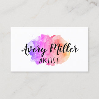 Artistic Watercolor Splash Business Cards