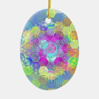 Künstlerische Kreise und Wirbels-Funky abstraktes Ovales Keramik Ornament