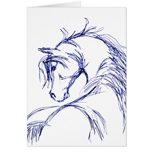 Künstlerische Pferdekopf-Skizze Mitteilungskarte