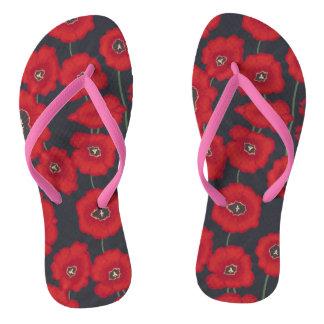 Künstlerische rote Tullips Blumen-schwarze Flip Flops