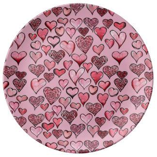 Künstlerische Valentinsgruß-Herzen Teller