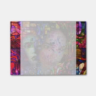 Künstlerische Verwirrung des Gehirn-Nebels Post-it Klebezettel