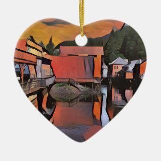 Künstlerischer Fluss durch Stadtwasser-Reflexion Keramik Herz-Ornament