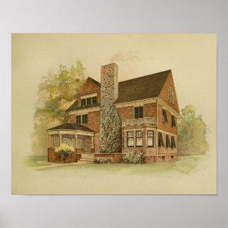 Künstlerischer Malerei-Farbdruck des Haus-Vintage Poster