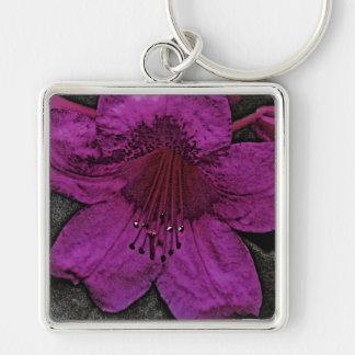Künstlerischer Rhododendron Silberfarbener Quadratischer Schlüsselanhänger
