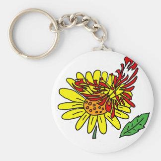 Künstlerischer roter Schmetterling auf gelber Schlüsselanhänger