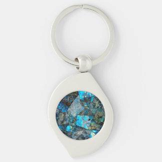 Künstlerisches abstraktes Labradorit-Mosaik Schlüsselanhänger