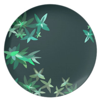 Künstlerisches Geen und aquamarines botanisches Essteller