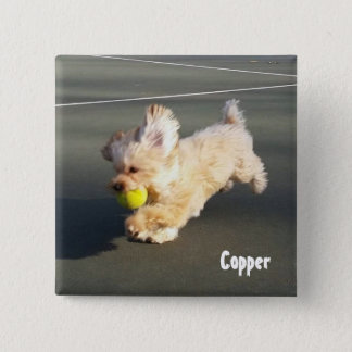 Kupfer am Tennisplatz-Knopf Quadratischer Button 5,1 Cm