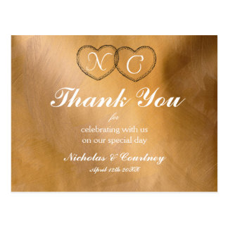 Kupferne Herzen danken Ihnen zu kardieren Postkarte