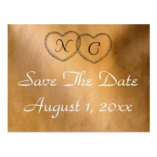 Kupferne Herzen Save the Date Postkarte