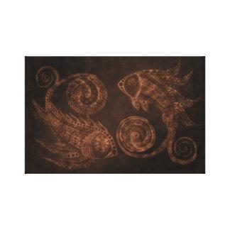 Kupferne Paisley-Fische Leinwanddruck
