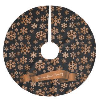 Kupferne Schneeflocke-schwarzer Polyester Weihnachtsbaumdecke