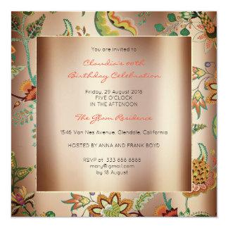 Kupferner Mit Blumenorientale erröten Quadratische 13,3 Cm Einladungskarte