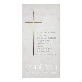 Kupfernes christliches QuerBeileid danken Ihnen Personalisierte Photo Karte