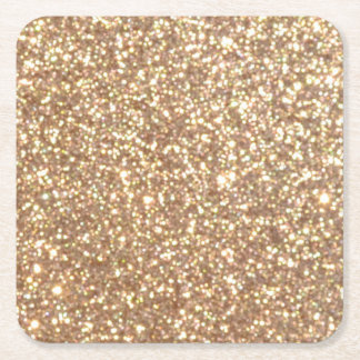 Kupfernes Rosen-Goldmetallischer Glitter Kartonuntersetzer Quadrat