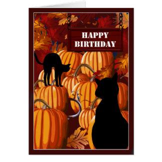 Kürbis-Flecken-Katzen-Geburtstags-Wünsche Grußkarte