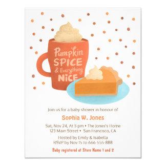 Kürbis-Gewürz Latte Torten-Babyparty-Einladungen Karte