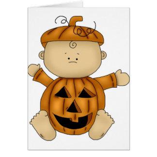 Kürbis-Halloween-Kostüm auf Baby Karte