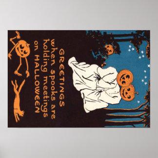 Kürbis-Jack O Laternen-Geist-schwarze Katzen-Baum Poster