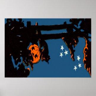 Kürbis-Jack O Laternen-Katzen-orange Schwarzes Poster