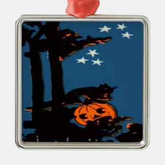 Kürbis-Jack O Laternen-Katzen-orange Schwarzes Quadratisches Silberfarbenes Ornament