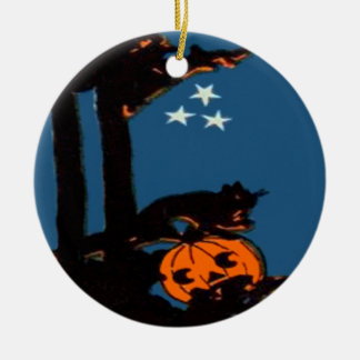 Kürbis-Jack O Laternen-Katzen-orange Schwarzes Rundes Keramik Ornament