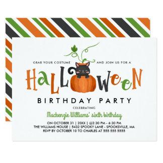 Kürbis-Katze - Halloween-Geburtstags-Party Karte