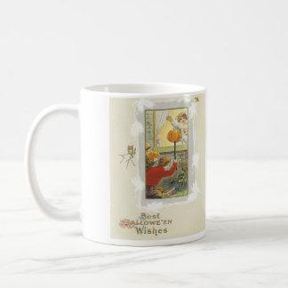 Kürbis-Kinderstreich-Eulen-Schläger Kaffeetasse