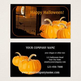 Kürbis-Mond-Halloween-Visitenkarte Visitenkarte