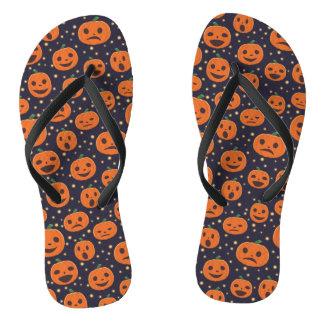 Kürbis-Muster-Kürbislaterne Halloweens niedliche Flip Flops