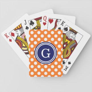 Kürbis-orange Marine-Blau-weiße Tupfen 1IR Spielkarten