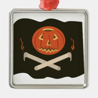Kürbislaterne-Flagge Quadratisches Silberfarbenes Ornament