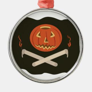 Kürbislaterne-Flagge Rundes Silberfarbenes Ornament