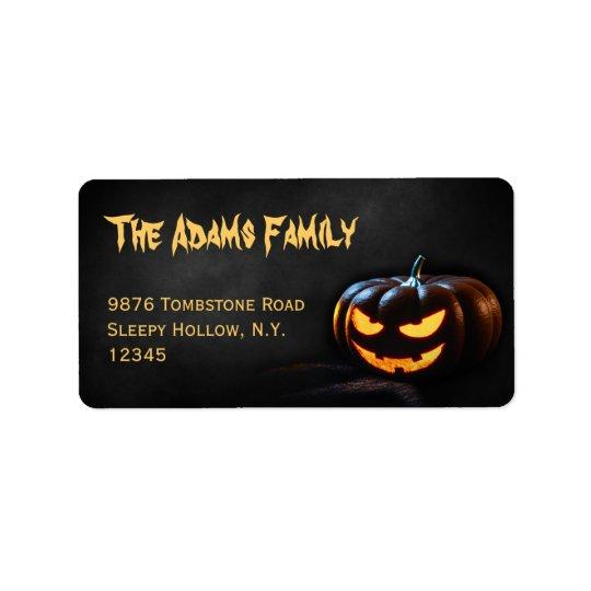 Kürbislaterne-Halloween-Adressen-Etikett Adressaufkleber