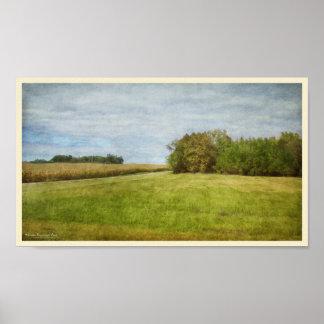 Kurvenreiche Straße durch Getreidefelder Poster