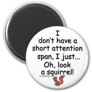 Kurzes Aufmerksamkeitsspanne-Eichhörnchen Runder Magnet 5,1 Cm