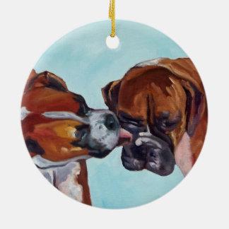 Küssen der Boxer-runden Verzierung Keramik Ornament