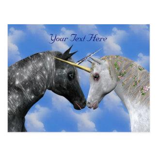 Küssen der Einhorn-Fantasie-Postkarte Postkarte