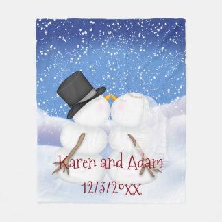 Küssen der Snowmen, die Fleece-umfassenden Spaß Fleecedecke