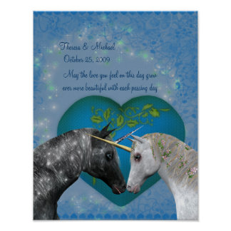 Küssen des Einhorn-Herz-Hochzeitstag-Plakats Poster